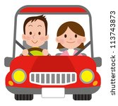 happy smiling couple in a car | Shutterstock . vector #113743873
