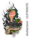 red snake vector and cherry... | Shutterstock .eps vector #1137440270