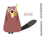 beaver in diving mask cartoon...   Shutterstock .eps vector #1137440429