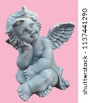 cupid sculpture isolated on... | Shutterstock . vector #1137441290