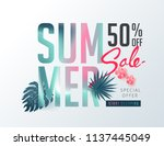 summer sale background layout... | Shutterstock .eps vector #1137445049