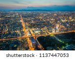 osaka city view with twilight...   Shutterstock . vector #1137447053