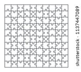 puzzle jigsaw set of 100 pieces ... | Shutterstock .eps vector #1137447089