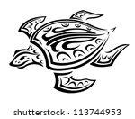 underwater turtle in tribal...   Shutterstock . vector #113744953