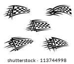 Set of chequer racing flags in tribal style, such a logo template. Vector version also available in gallery - stock photo