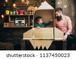 kid with jet pack pretend to be ...   Shutterstock . vector #1137450023