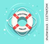 life buoy floating in swimming... | Shutterstock .eps vector #1137469244