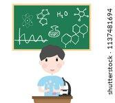 happy student boy siting in... | Shutterstock .eps vector #1137481694