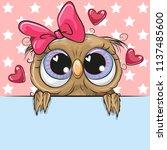 greeting card cute cartoon owl... | Shutterstock .eps vector #1137485600