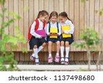happy children girls... | Shutterstock . vector #1137498680