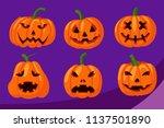 halloween pumpkins illustration | Shutterstock .eps vector #1137501890