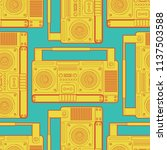 boombox retro pattern seamless. ... | Shutterstock .eps vector #1137503588