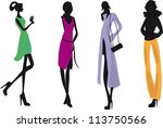 silhouettes of woman | Shutterstock .eps vector #113750566