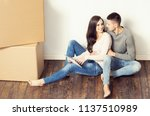 young loving couple moving to a ... | Shutterstock . vector #1137510989