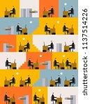 office life pattern. corporate... | Shutterstock . vector #1137514226