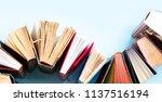 pile of old books on blue...   Shutterstock . vector #1137516194