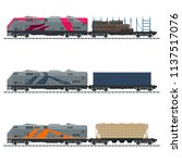 locomotive with cargo container ... | Shutterstock .eps vector #1137517076