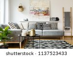 patterned pillows on grey... | Shutterstock . vector #1137523433