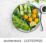 healthy nourishment bowl with... | Shutterstock . vector #1137525920