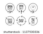 """24 hours"" icon set. concept of ... 
