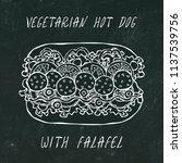 vegetarian hot dog with falafel.... | Shutterstock .eps vector #1137539756