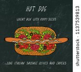 hot dog on a bun with poppy... | Shutterstock .eps vector #1137539813