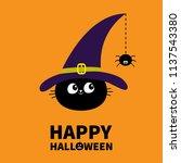 happy halloween. black cat face ... | Shutterstock .eps vector #1137543380