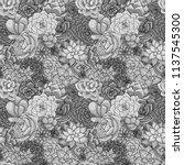 succulents seamless pattern.... | Shutterstock . vector #1137545300
