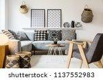 grey wooden armchair in scandi...   Shutterstock . vector #1137552983