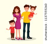 happy family. father  mother ... | Shutterstock .eps vector #1137555260