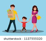 happy family. dad mom and son... | Shutterstock .eps vector #1137555320