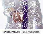business woman clicks a funnel... | Shutterstock . vector #1137561086