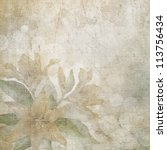 Stock photo old scratched paper with flowers background 113756434