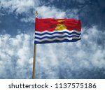 kiribati flag silk waving flag... | Shutterstock . vector #1137575186