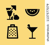 filled set of 4 food icons such ... | Shutterstock . vector #1137577079