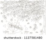 Maple tree, falling maple leaves sketch, umbrella monochrome romantic background coloring book anti stress stock vector illustration for web, for print