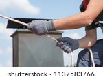 man use safety equipment   rope ... | Shutterstock . vector #1137583766