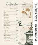 vector menu for coffee shop... | Shutterstock .eps vector #1137588746