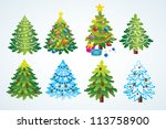 set of christmas trees | Shutterstock .eps vector #113758900