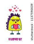 monster with heart. invitation... | Shutterstock .eps vector #1137590039