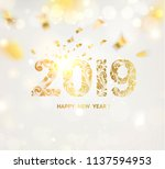 happy new year card over gray... | Shutterstock .eps vector #1137594953