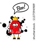 funny angry monster king.... | Shutterstock .eps vector #1137594989