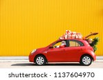 authentic santa claus driving... | Shutterstock . vector #1137604970