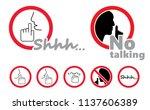 silence no speaking no talking... | Shutterstock .eps vector #1137606389