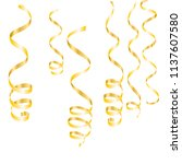 gold streamers. serpentine...   Shutterstock .eps vector #1137607580