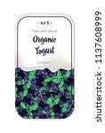 hand drawing blueberry yogurt...   Shutterstock .eps vector #1137608999