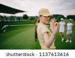 selective focus of female golf... | Shutterstock . vector #1137613616