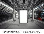 blank white banner at metro... | Shutterstock . vector #1137619799