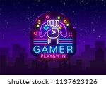 gamer play win logo neon sign...