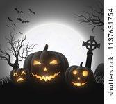 halloween background with... | Shutterstock .eps vector #1137631754